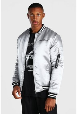 Grey MAN Official Satin Contrast Baseball Bomber