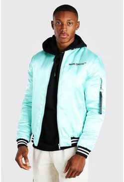 Mint MAN Official Satin Contrast Baseball Bomber