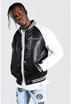 Black MAN Official Satin Bomber
