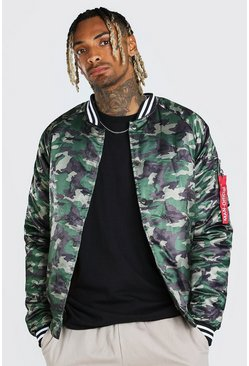 Khaki MAN Official Camo Satin Bomber