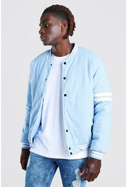Light blue MAN Script Wool Look Varsity Bomber