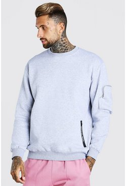 Grey marl Oversized Official MAN Sweatshirt With Zips