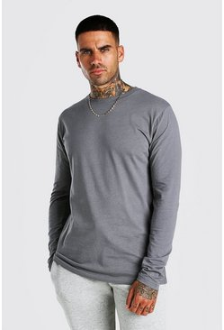 Dark grey Basic Long Sleeve Crew Neck T Shirt