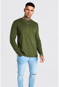 Khaki Basic Long Sleeve Crew Neck T Shirt
