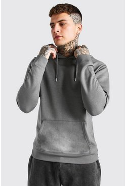 Dark grey Basic Over The Head Fleece Hoodie