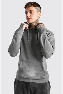 Dark grey Basic Over The Head Fleece Hoodie