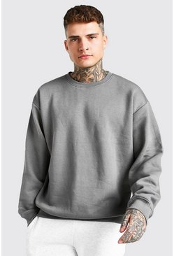 Dark grey Basic Oversized Crew Neck Sweatshirt