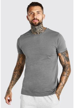 Dark grey Basic Rolled Sleeve Crew Neck T-Shirt