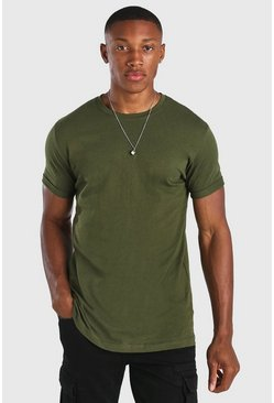 Khaki Crew Neck T-Shirt With Rolled Sleeves