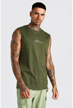 Khaki MAN Signature Drop Armhole Tank