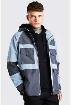 Grey Contrast Pocket Lightweight Parka