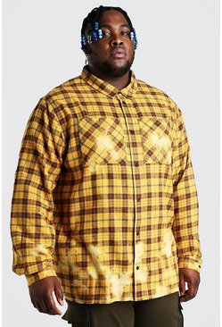 Yellow Plus Size Bleached Hem Check Shirt