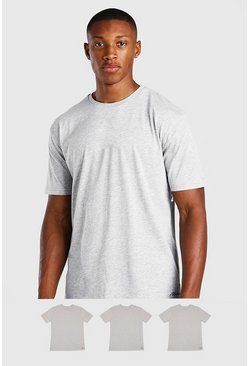 Grey 3 Pack Small MAN Script Lounge T-Shirt