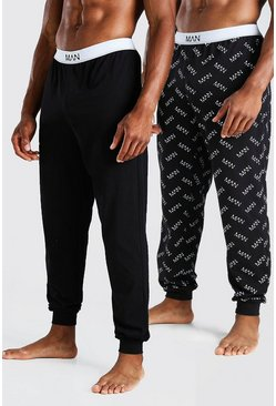 Black 2 Pack MAN Dash Print Plain Lounge Pants
