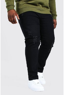 Black Plus Size Raw Hem Skinny Fit Jean