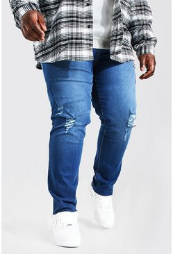 Mid blue Plus Size Raw Hem Skinny Fit Jean