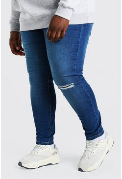Mid blue Plus Size Busted Knee Super Skinny Jean