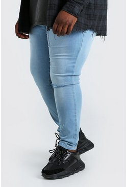 Light blue Plus Size Busted Knee Super Skinny Jean