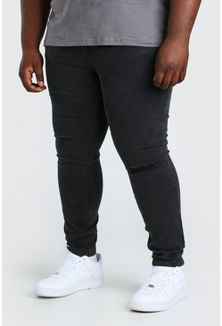 Charcoal Plus Size Busted Knee Super Skinny Jean