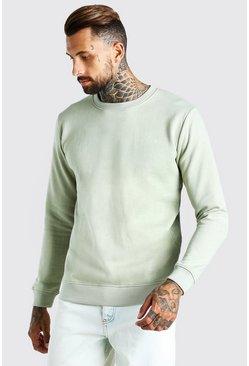 Sage Basic Crew Neck Fleece Sweatshirt