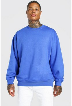 Cobalt Oversized Fleece Crew Neck Sweatshirt