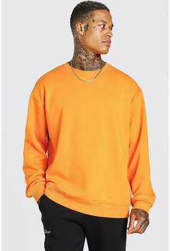 Oversized-Sweatshirt aus Fleece mit Rundhalsausschnitt, Orange