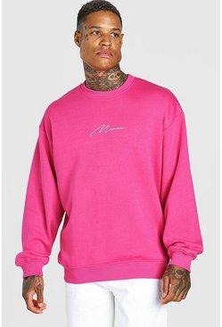 Pink Oversized Man Signature Sweatshirt