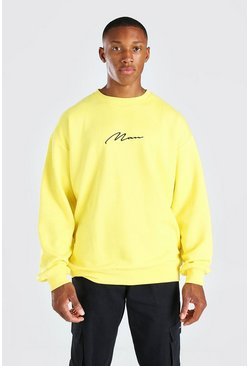Yellow Oversized Man Signature Sweatshirt