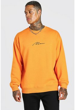 Orange Oversized Man Signature Sweatshirt