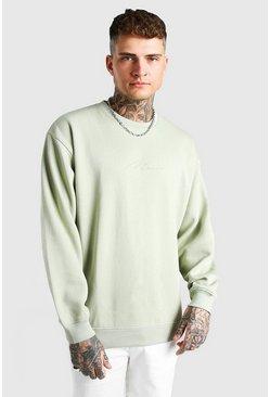 Sage Oversized Man Signature Sweatshirt