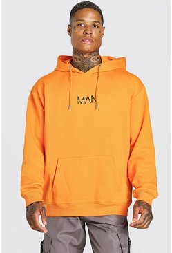 Orange Oversized Original MAN Over The Head Hoodie