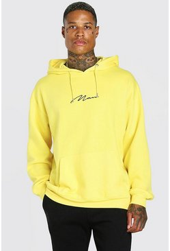 Yellow Oversized MAN Signature Over The Head Hoodie