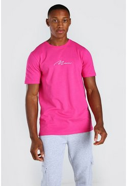 Pink MAN Signature Embroidered T-Shirt