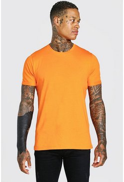 Orange Crew Neck T-Shirt With Rolled Sleeves