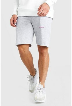 Grey marl MAN Official Mid Length Jersey Short