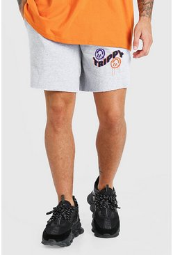 Grey marl Mid Length Jersey Short With Trippy Print
