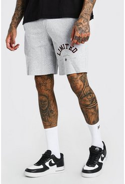 Grey marl Jersey Short With Front Limited Print