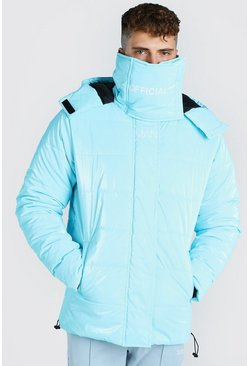 Light blue MAN Official High Shine Snood Puffer