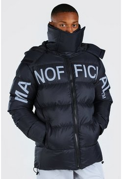 Black MAN Official Chest Print Snood Puffer