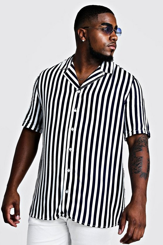 Mens Navy Big & Tall Revere Collar Stripe Shirt