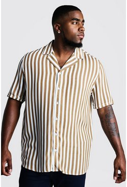 Mens Tobacco Big & Tall Revere Collar Stripe Shirt