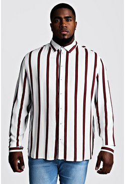 Mens White Big & Tall Stripe Print Shirt