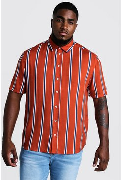 Mens Rust Big & Tall Stripe Print Shirt