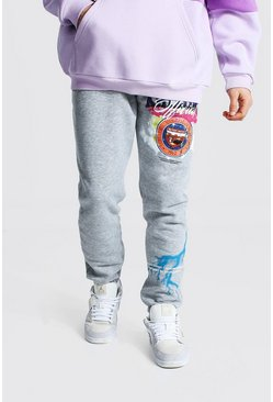 Grey marl Slim Official Varsity Print Joggers