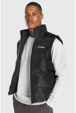 Black Branded Funnel Neck Gilet