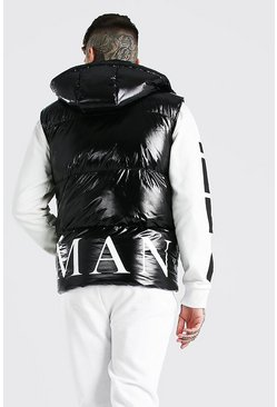 Black MAN Back Print Gilet