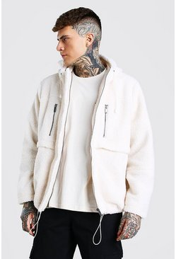 Off white Oversized Sherpa Jacket