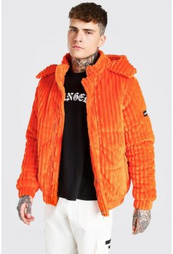 Orange Jumbo Corduroy Puffer