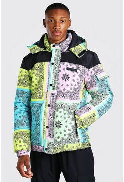 Multi Patch Pocket Bandana Printed Puffer