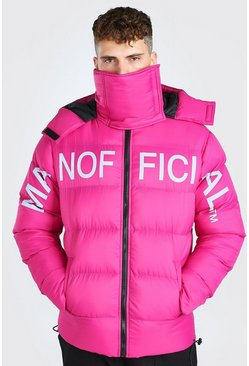 Pink MAN Official Chest Print Snood Puffer